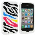Apple iPhone 4 / 4S Colorful Zebra Silicone Design Soft Skin Case Cover Angle 2