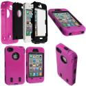 Apple iPhone 4 / 4S Hot Pink / Black + Protector Hybrid Deluxe Hard/Soft Case Cover Angle 1
