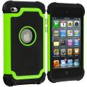 Apple iPod Touch 4th Generation Neon Green Hybrid Rugged Hard/Soft Case Cover Angle 1