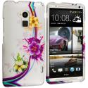 HTC One Max Purple Flower Chain Hard Rubberized Design Case Cover Angle 1