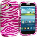 Samsung Galaxy S3 Pink / Silver Zebra Hard Rubberized Design Case Cover Angle 2