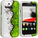 Alcatel One Touch Evolve 5020T Green / White Swirl 2D Hard Rubberized Design Case Cover Angle 1