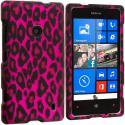 Nokia Lumia 521 Hot Pink Leopard 2D Hard Rubberized Design Case Cover Angle 1