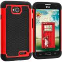 LG Optimus L70 Exceed 2 Realm LS620 Black / Red Hybrid Rugged Hard/Soft Case Cover Angle 1