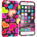 Apple iPhone 6 6S (4.7) Rainbow Hearts Black TPU Design Soft Case Cover Angle 1