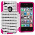 Apple iPhone 4 / 4S Hot Pink / White Hybrid Mesh Hard/Soft Case Cover Angle 1