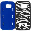 Samsung Galaxy S6 Zebra Blue Hybrid Deluxe Hard/Soft Case Cover Angle 8
