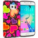 Samsung Galaxy S6 Edge Rainbow Hearts Black TPU Design Soft Rubber Case Cover Angle 1
