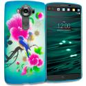 LG V10 Blue Bird Pink Flower TPU Design Soft Rubber Case Cover Angle 1