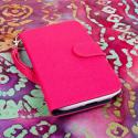 Samsung Galaxy Note 2 - Pink/ Navy Blue MPERO FLEX FLIP Wallet Case Cover Angle 2