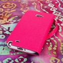 Samsung Galaxy Note 2 - Pink/ Navy Blue MPERO FLEX FLIP Wallet Case Cover Angle 3