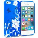 Apple iPhone 5/5S/SE Blue White Flower Butterfly TPU Design Soft Rubber Case Cover Angle 1