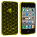 Apple iPhone 4 / 4S Yellow Hexagon TPU Rubber Skin Case Cover Angle 2