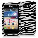 LG Motion MS770 Black / White Zebra Design Crystal Hard Case Cover Angle 1