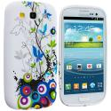 Samsung Galaxy S3 Blue Butterfly Vine TPU Design Soft Case Cover Angle 1