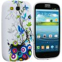 Samsung Galaxy S3 Blue Butterfly Vine TPU Design Soft Case Cover Angle 2