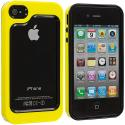 Apple iPhone 4 / 4S Black / Yellow Hybrid TPU Bumper Case Cover Angle 2
