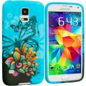 Samsung Galaxy S5 Blue Butterfly Flower TPU Design Soft Case Cover Angle 1
