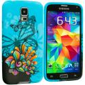 Samsung Galaxy S5 Blue Butterfly Flower TPU Design Soft Case Cover Angle 2