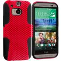 HTC One M8 Black / Red Hybrid Mesh Hard/Soft Case Cover Angle 1