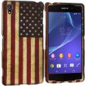 Sony Xperia Z2 USA Flag 2D Hard Rubberized Design Case Cover Angle 1