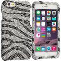Apple iPhone 6 6S (4.7) Black Silver Zebra Bling Rhinestone Case Cover Angle 1