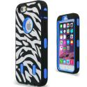 Apple iPhone 6 6S (4.7) Blue Zebra Hybrid Deluxe Hard/Soft Case Cover Angle 2
