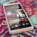 HTC One Max - Mint Chevron MPERO SNAPZ - Rubberized Case Cover Angle 2
