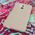 HTC One Max - Mint Chevron MPERO SNAPZ - Rubberized Case Cover Angle 3