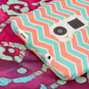 HTC One Max - Mint Chevron MPERO SNAPZ - Rubberized Case Cover Angle 6