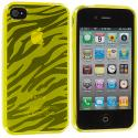 Apple iPhone 4 Yellow Zebra TPU Rubber Skin Case Cover Angle 2