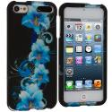 Apple iPod Touch 5th 6th Generation Blue Flower Hard Rubberized Design Case Cover Angle 1