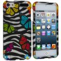 Apple iPod Touch 5th 6th Generation Rainbow Butterfly Zebra Hard Rubberized Design Case Cover Angle 1