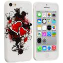 Apple iPhone 5C Red Hearts TPU Design Soft Case Cover Angle 1