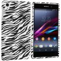 Sony Xperia Z1 Black White Zebra TPU Design Soft Case Cover Angle 1