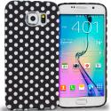 Samsung Galaxy S6 Black / White Polka Dot TPU Design Soft Rubber Case Cover Angle 1