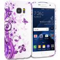 Samsung Galaxy S7 Edge Purple Swirl TPU Design Soft Rubber Case Cover Angle 1