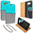 Samsung Galaxy E5 S978L Mint Green Zebra Design Wallet Flip Pouch Case Cover with Credit Card ID Slots Angle 1