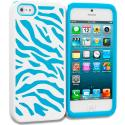 Apple iPhone 5/5S/SE Baby Blue / White Hybrid Zebra Hard/Soft Case Cover Angle 1