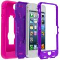 Apple iPhone 5/5S/SE Hot Pink / Purple Hybrid Heavy Duty Hard/Soft Case Cover with Stand Angle 2