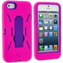 Apple iPhone 5/5S/SE Hot Pink / Purple Hybrid Heavy Duty Hard/Soft Case Cover with Stand Angle 3