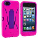 Apple iPhone 5/5S/SE Hot Pink / Purple Hybrid Heavy Duty Hard/Soft Case Cover with Stand Angle 4