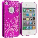 Apple iPhone 4 / 4S Hot Pink Diamond Luxury Flower Case Cover Angle 2