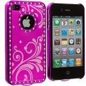Apple iPhone 4 / 4S Hot Pink Diamond Luxury Flower Case Cover Angle 3