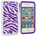 Apple iPhone 4 / 4S Purple / White Hybrid Zebra Hard/Soft Case Cover Angle 1