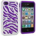 Apple iPhone 4 / 4S Purple / White Hybrid Zebra Hard/Soft Case Cover Angle 2