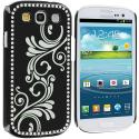 Samsung Galaxy S3 Black Diamond Luxury Flower Case Cover Angle 1