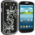 Samsung Galaxy S3 Black Diamond Luxury Flower Case Cover Angle 2