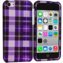 Apple iPhone 5C Purple Checker Hard Rubberized Design Case Cover Angle 1