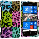 Nokia Lumia 521 Splicing Grid Leopard Hard Rubberized Design Case Cover Angle 1